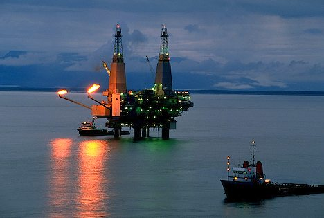 Oil Rig off Coast Of Alaska
